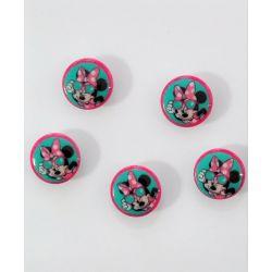 5 Boutons Minnie 18 mm en Résine