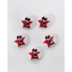 5 Boutons Mickey Etoile Rouge 20 mm en Résine