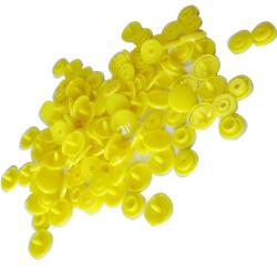 30 Boutons Pressions en Plastique Coloris Jaune 12 mm