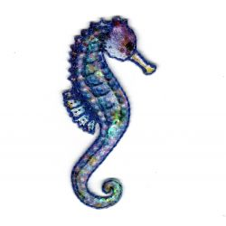 Patch Ecusson Thermocollant Hippocampe Paillettes Sous la Mer 3 x 6,50 cm