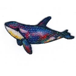 Patch Ecusson Thermocollant Baleine Paillettes Sous la Mer 4,50 x 7 cm