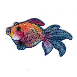 Patch Ecusson Thermocollant Poisson Voile Paillettes Sous la Mer 3,50 x 7 cm