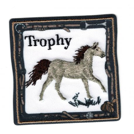 Patch Ecusson Thermocollant Cheval Mustang Isabelle 6 x 6 cm