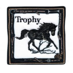 Patch Ecusson Thermocollant Cheval Mustang Noir 6 x 6 cm