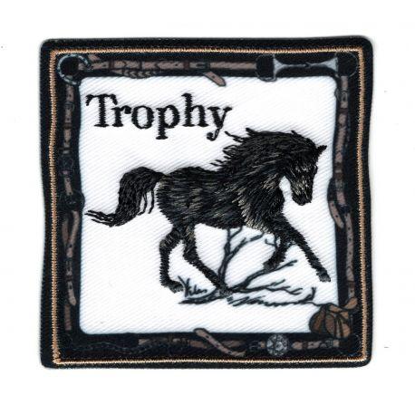 Patch Ecusson Thermocollant Cheval Mustang Noir 6 x 6 cm