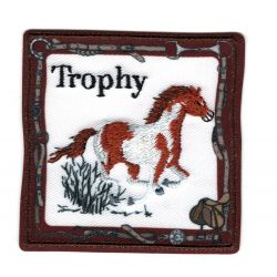 Patch Ecusson Thermocollant Cheval Mustang Pie Paint 6 x 6 cm