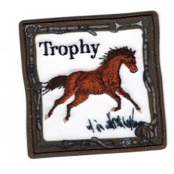 Patch Ecusson Thermocollant Cheval Mustang Bai 6 x 6 cm
