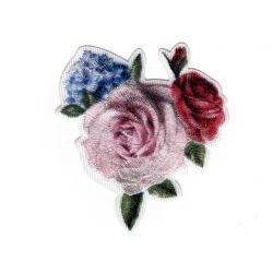 Patch Ecusson Thermocollant Bouquet de Fleurs Rose Clair 5 x 6 cm