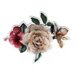 Patch Ecusson Thermocollant Bouquet de Fleurs Rose Hibiscus 5 x 6 cm