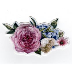 Patch Ecusson Thermocollant Bouquet de Fleurs Rose 4 x 8 cm