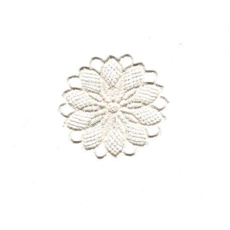 Crème Satin bijou fleur 4.5 cm enfants colle sur Sew on applique écusson patch Trim