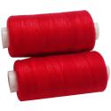 2 Bobines 500 mètres Polyester Coloris Rouge Flamme Fil à Coudre