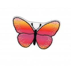 Patch Ecusson Thermocollant Papillon Coloris Jaune Rose Orange 3 x 5 cm