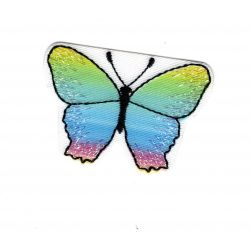 Patch Ecusson Thermocollant Papillon Coloris Bleu Vert 3,50 x 5 cm