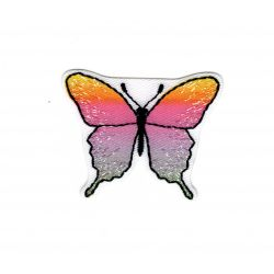 Patch Ecusson Thermocollant Papillon Coloris Jaune Rose 3,50 x 4 cm