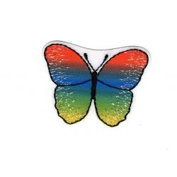 Patch Ecusson Thermocollant Papillon Coloris Orange Bleu Vert 3,50 x 4,50 cm