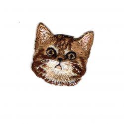 Patch Ecusson Thermocollant Chat tigré Marron 3 x 3 cm