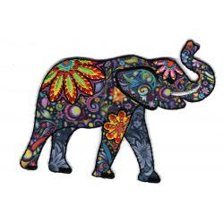 Patch Ecusson Thermocollant ELEPHANT Fleurs et Arabesques 7 x 9 cm
