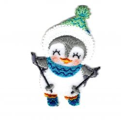 Patch Ecusson Thermocollant Pingouin au Ski 4,50 x 6,50 cm