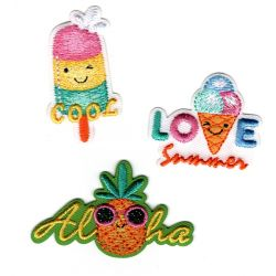 Patch Ecusson Thermocollant x 3 Glace Cool Ananas Love Summer 4 x 4 cm environ