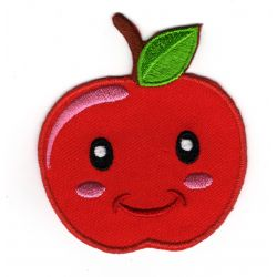 Patch Ecusson Thermocollant Pomme Rouge Smile 6 x 7 cm
