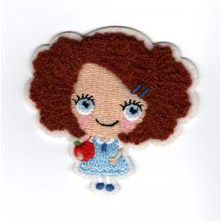 Patch Ecusson Thermocollant Petite Fille Fillette Cheveux Pomme 6 x 6 cm