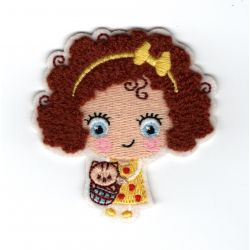 Patch Ecusson Thermocollant Petite Fille Fillette Cheveux Chaton 6 x 6 cm