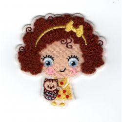 Patch Ecusson Thermocollant Petite Fille Fillette Cheveux Chaton 6 x 6 cm