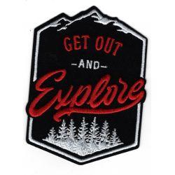 Patch Ecusson Thermocollant Get Out Explorer forest Montagne Coloris Noir 7 x 10 cm