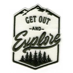 Patch Ecusson Thermocollant Get Out Explorer forest Montagne Coloris Ecru 7 x 10 cm