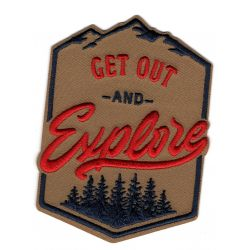 Patch Ecusson Thermocollant Get Out Explorer forest Montagne Coloris Marron 7 x 10 cm