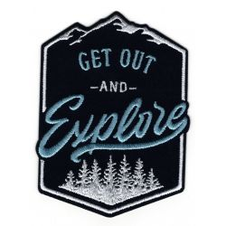 Patch Ecusson Thermocollant Get Out Explorer forest Montagne Coloris Marine 7 x 10 cm