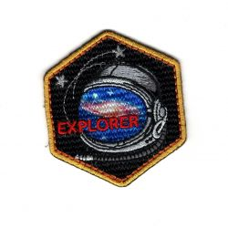 Patch Ecusson Thermocollant Explorer Espace Space Casque Astronaute 5 x 5,50 cm