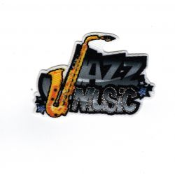 Patch Ecusson Thermocollant Jazz Music Musique Saxo 3,50 x 5 cm