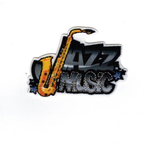 Patch Ecusson Thermocollant Jazz Music Musique Saxo 3,50 x 5 cm