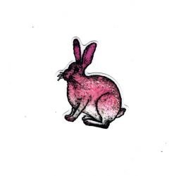 Patch Ecusson Thermocollant Lapin Nature Brillant 3,50 x 4 cm
