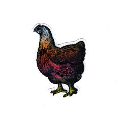 Patch Ecusson Thermocollant Poule Nature Brillant 3,50 x 5 cm