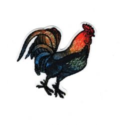 Patch Ecusson Thermocollant Coq Nature Brillant 4,50 x 5,50 cm