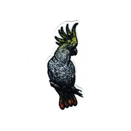 Patch Ecusson Thermocollant Perroquet Cacatoes Nature Brillant 2 x 5,50 cm