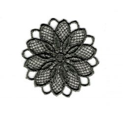 Patch Ecusson Thermocollant Fleur Dentelle en Rosace Coloris Gris 3,50 x 3,50 cm