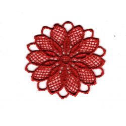 Patch Ecusson Thermocollant Fleur Dentelle en Rosace Coloris Rouge 3,50 x 3,50 cm