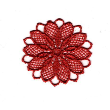 Patch Ecusson Thermocollant Fleur Dentelle en Rosace Coloris Rouge 3,50 x 3,50 cm