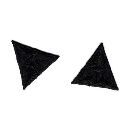 Patch Ecusson Thermocollant 2 x Mouche Triangle Coloris Noir 2,20 x 2,50 cm