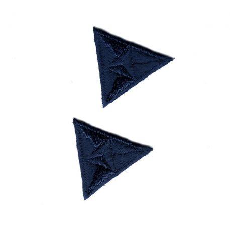 Patch Ecusson Thermocollant 2 x Mouche Triangle Coloris Bleu 2,20 x 2,50 cm