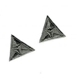 Patch Ecusson Thermocollant 2 x Mouche Triangle Coloris Gris 2,20 x 2,50 cm