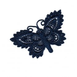 Patch Ecusson Thermocollant Papillon Dentelle Crochet Coloris Marine 3 x 6 cm