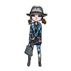 Patch Ecusson Thermocollant Fashionista Fille mannequin Chapeau 2,50 x 7 cm