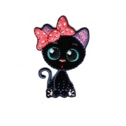 Patch Ecusson Thermocollant Chat Chaton Kawai Nœud Rose 3,50 x 5 cm
