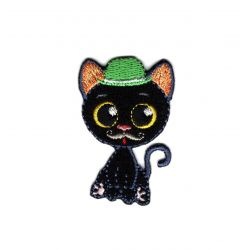 Patch Ecusson Thermocollant Chat Chaton Kawai Chapeau Melon 3 x 4,50 cm