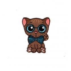 Patch Ecusson Thermocollant Chat Chaton Kawai Nœud Papillon 3,50 x 4 cm